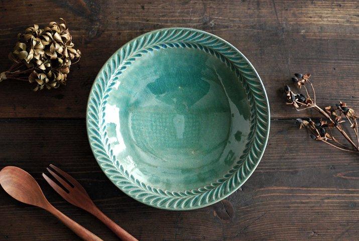 【WEB展示会】|市野耕|トルコブルー 8寸葉紋皿
