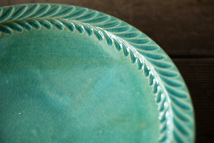 【WEB展示会】|市野耕|トルコブルー 8寸葉紋皿-02