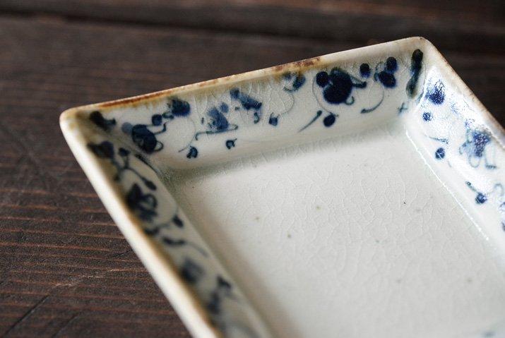 石井桃子|花唐草 ひし形豆皿-02