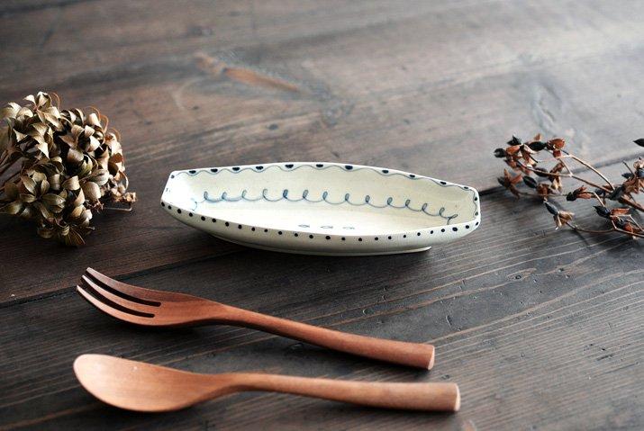 石井桃子|舟型皿(魚柄)