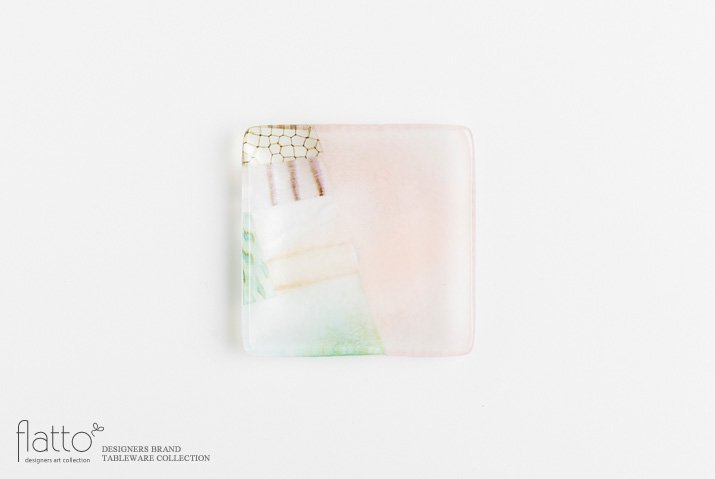 吉村桂子|ツギハギ角皿(10cm角)