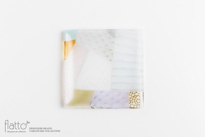 吉村桂子|ツギハギ角皿(15cm角)