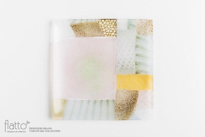 吉村桂子|ツギハギ角皿(21cm角)