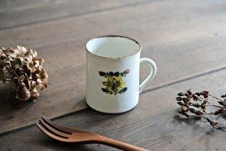 松本郁美|白磁掻き落とし コーヒーカップ(黄花)