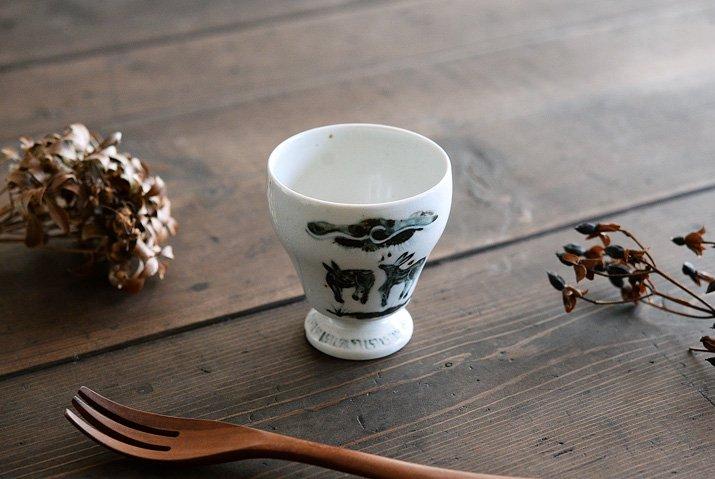 松本郁美|灰釉 足付茶器(小鹿)