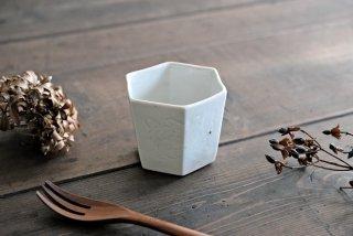 松本郁美|灰釉 六角茶器(牡丹)