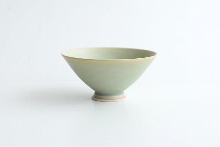 杉原万理江|高台飯碗(黄緑系)