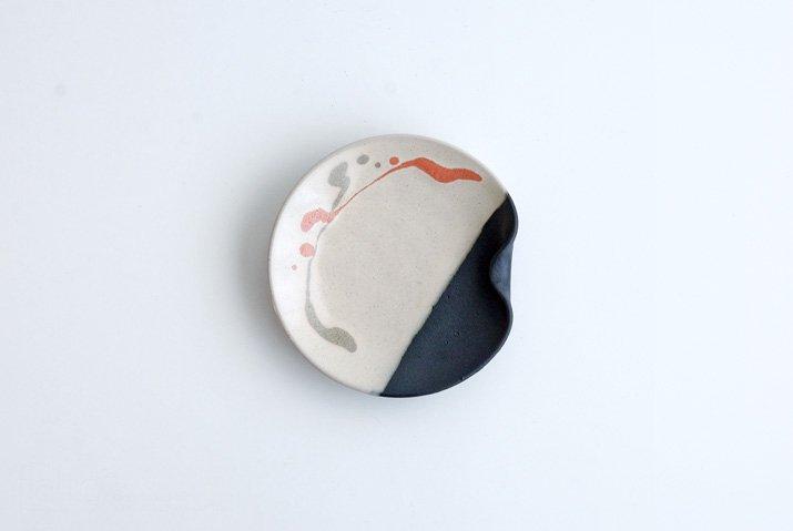 安田宏定|白釉四季彩掛け分けはしおきプレート4寸(流・橙)