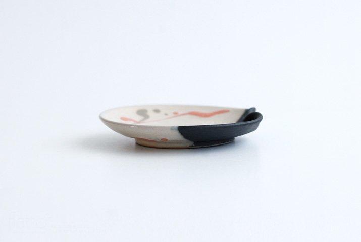 安田宏定|白釉四季彩掛け分けはしおきプレート4寸(流・橙)-05
