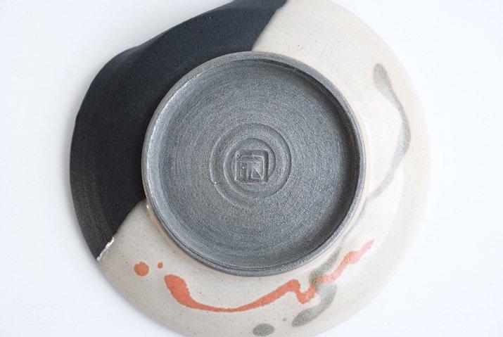 安田宏定|白釉四季彩掛け分けはしおきプレート4寸(流・橙)-07