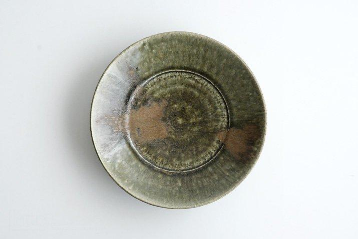 野村佳苗|錆緑釉 7寸皿
