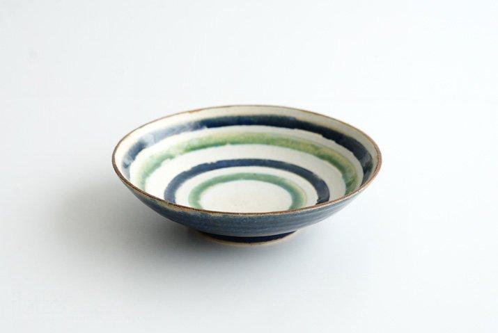 野村佳苗 麦藁手 輪線皿(碧織部×瑠璃)-05
