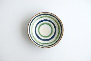 野村佳苗 麦藁手 6寸皿(青×緑)