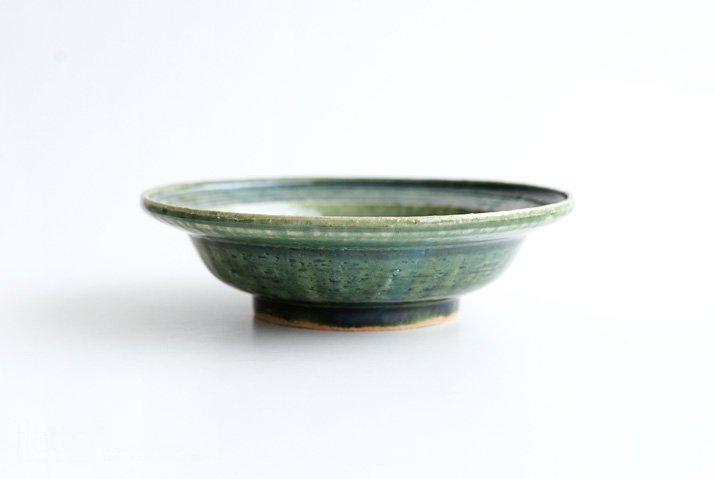 野村佳苗 碧織部釉 櫛目向付(大)-03