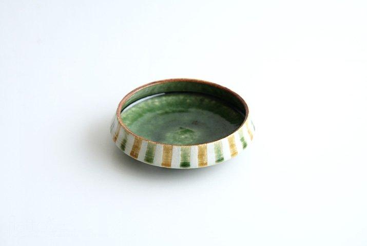 野村佳苗|麦藁手 台形皿(碧織部×黄桑)