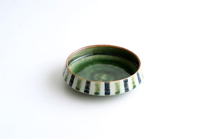 野村佳苗 麦藁手 台形皿(碧織部×瑠璃)