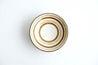 野村佳苗 麦藁手 輪線皿(飴×黄桑)