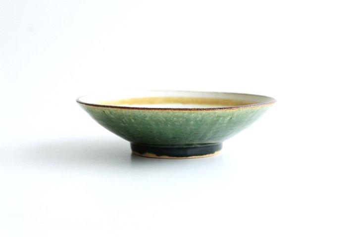 野村佳苗 麦藁手 輪線皿(碧織部×黄桑)-03