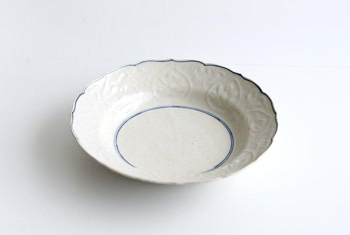 野村佳苗|染付 陽刻7寸皿