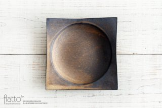 銅彩釉 角皿(大) 作家「水野幸一」