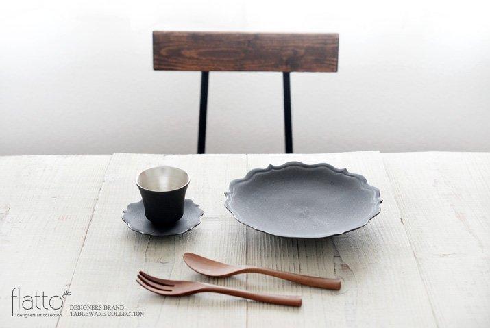 黒釉銀彩カップ&ソーサー 作家「木下和美」-03