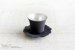 黒釉銀彩カップ&ソーサー 作家「木下和美」