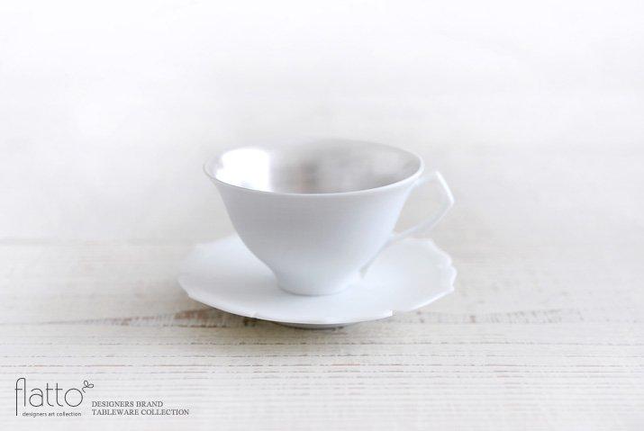 木下和美|白磁銀彩 デミタスカップ&ソーサー