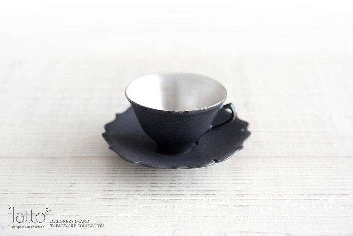 木下和美 黒釉銀彩 デミタスカップ&ソーサー