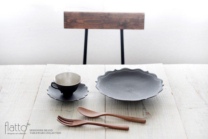 木下和美 黒釉銀彩 デミタスカップ&ソーサー-03