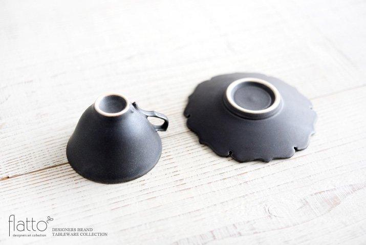 木下和美 黒釉銀彩 デミタスカップ&ソーサー-04