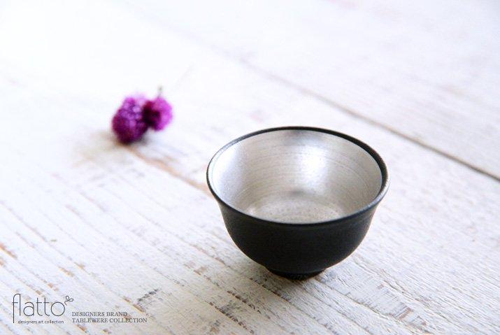 木下和美|黒釉銀彩 煎茶碗-02