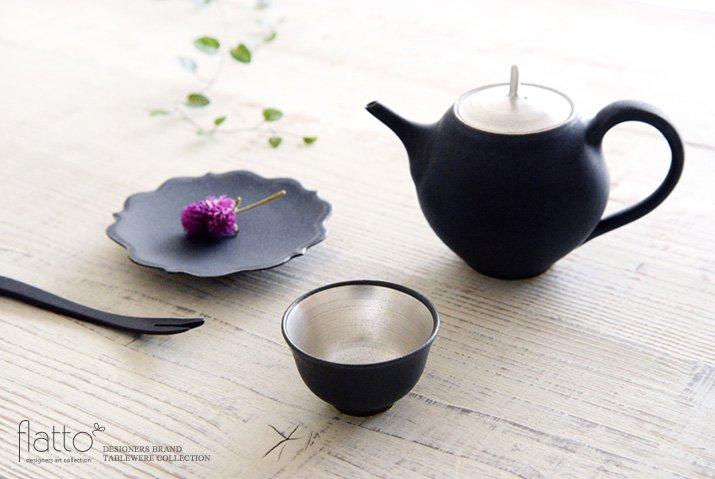 木下和美|黒釉銀彩 煎茶碗-03