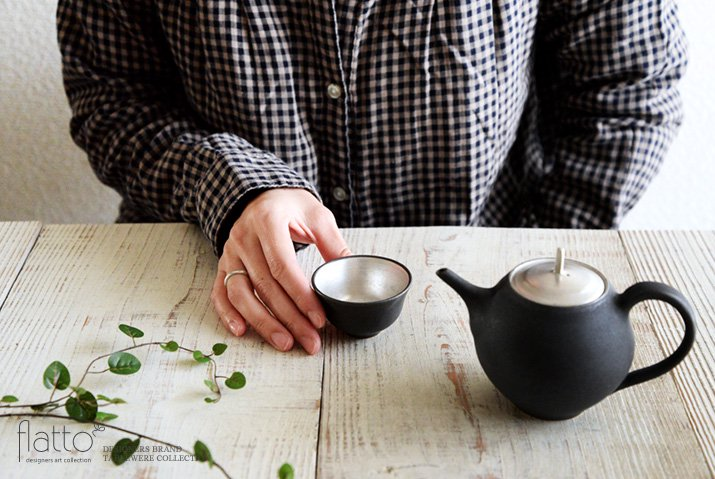 木下和美|黒釉銀彩 煎茶碗-04