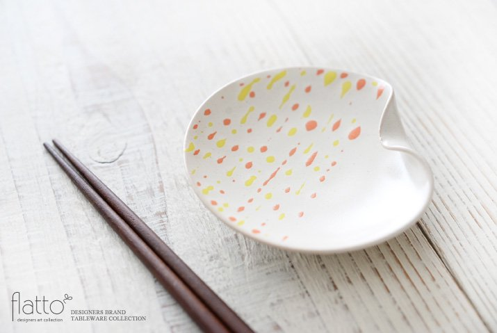 安田宏定 白釉四季彩 はしおきプレート3寸(雫・橙黄)-02