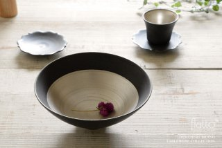 木下和美|黒釉銀彩鉢