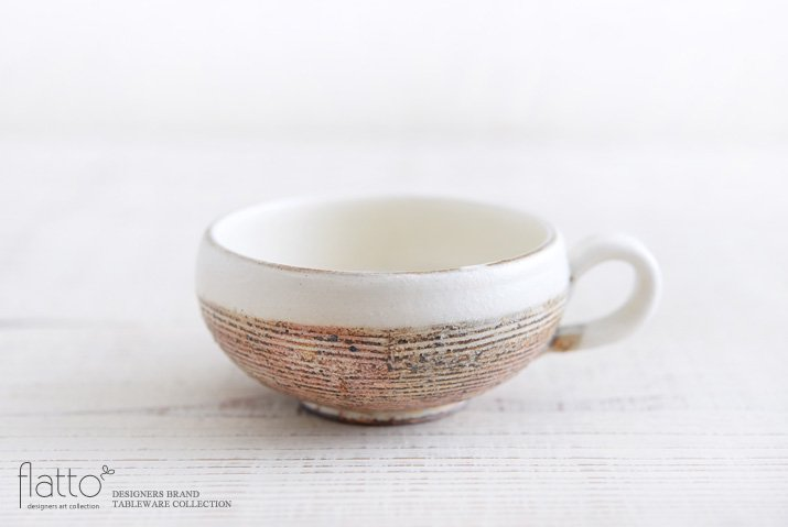 渕荒横彫 手付きスープカップ(丸) 作家「古谷浩一」