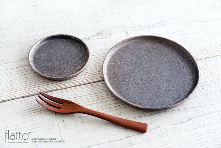 奥田章|ケーキ皿18cm(茶)-04