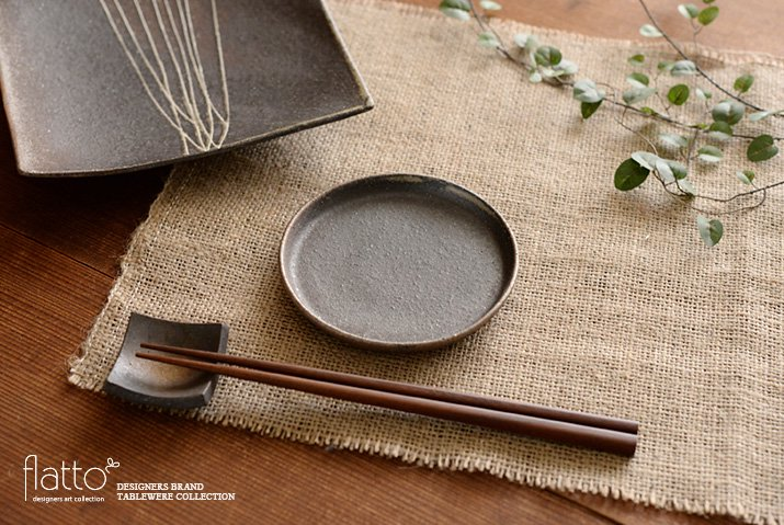 ケーキ皿12cm(茶) 作家「奥田章」-03