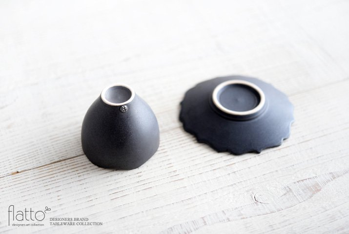 木下和美|黒釉銀彩 輪花カップ&ソーサー-04