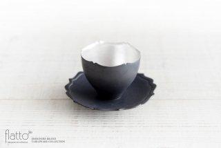 木下和美|黒釉銀彩 輪花カップ&ソーサー
