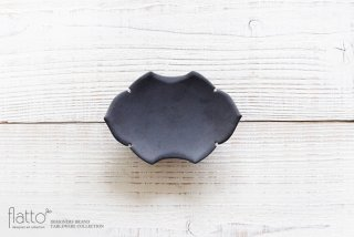 木下和美|黒釉蝙蝠菓子皿