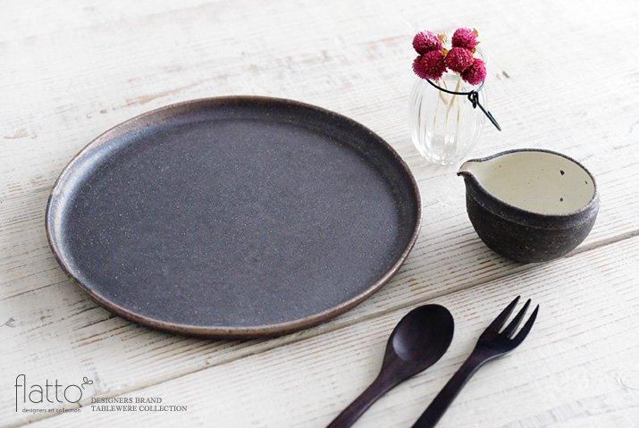 奥田章|ケーキ皿26cm(茶)-04