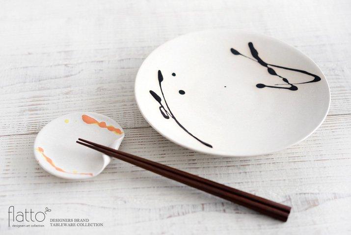 安田宏定|白釉四季彩はしおきプレート3寸(流・橙黄)-04