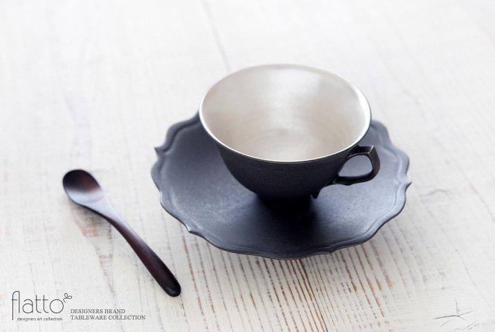 木下和美|黒釉銀彩ティーカップ&ソーサー(L)-02