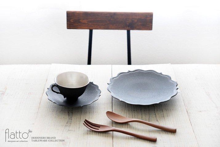 木下和美|黒釉銀彩ティーカップ&ソーサー(L)-03