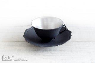 木下和美|黒釉銀彩ティーカップ&ソーサー(L)