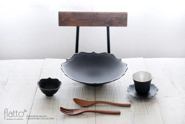 黒釉輪花鉢 作家「木下和美」-03