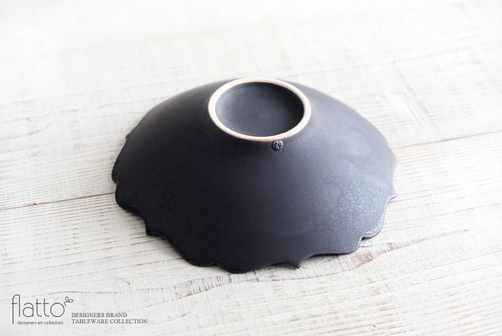 黒釉輪花鉢 作家「木下和美」-04