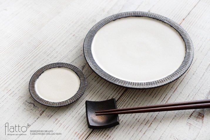 shiro-kuro 6寸皿(縁黒) 作家「トキノハ」-04