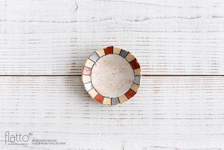 トキノハ|iroe 粉引色絵豆皿(縞・赤銀)